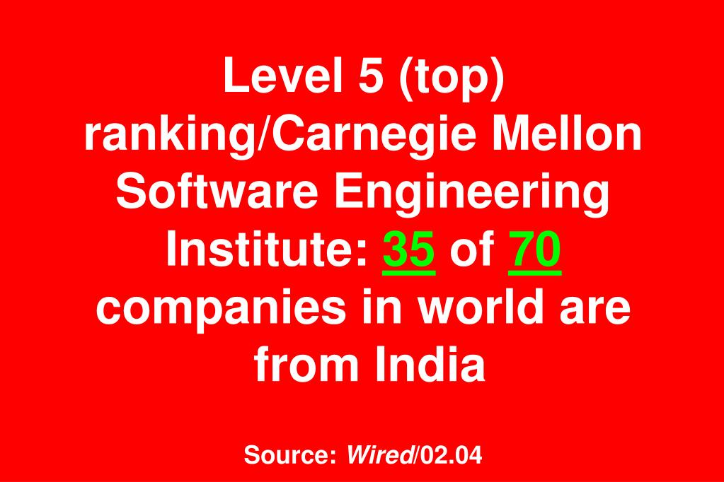 Level 5 (top) ranking/Carnegie Mellon Software Engineering Institute:
