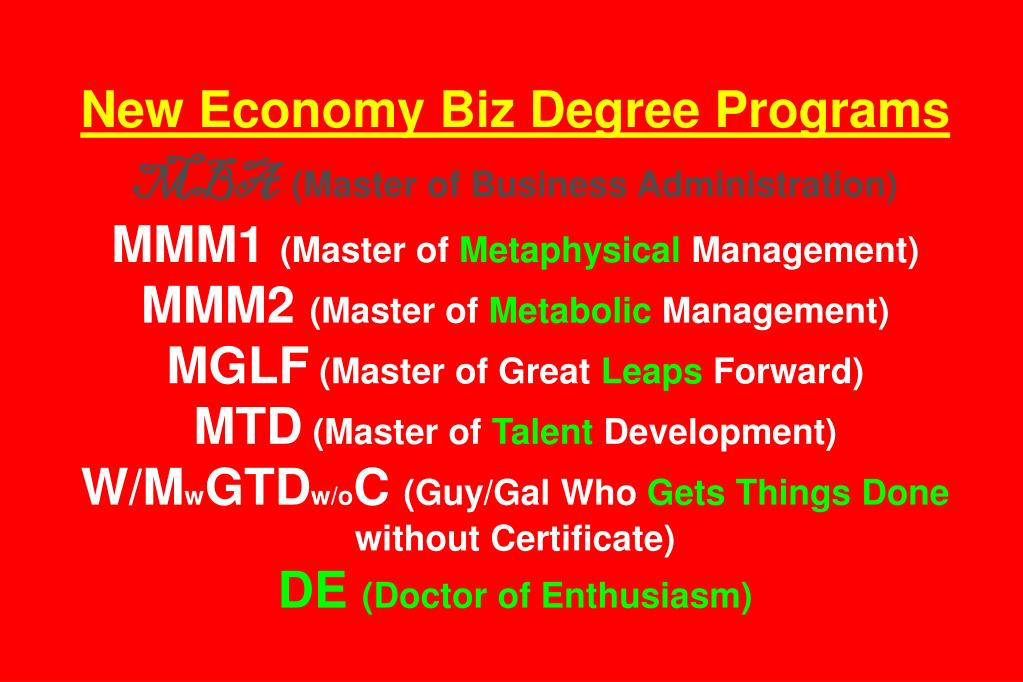 New Economy Biz Degree Programs