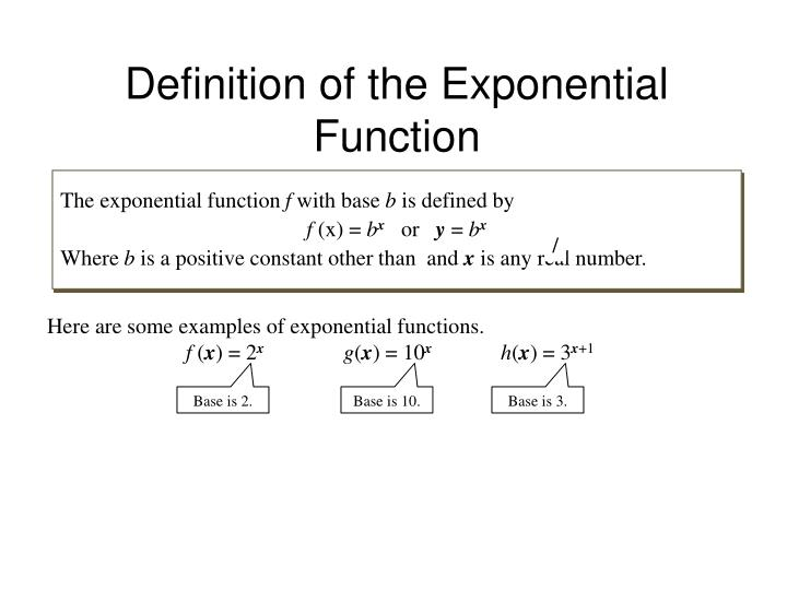 Definition of the exponential function