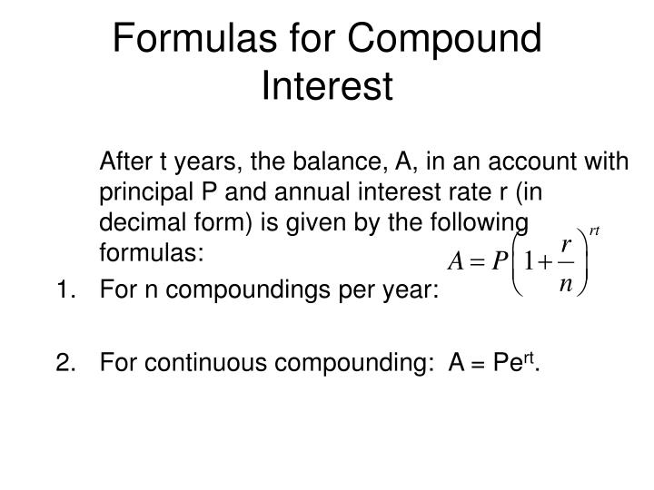 Formulas for Compound Interest