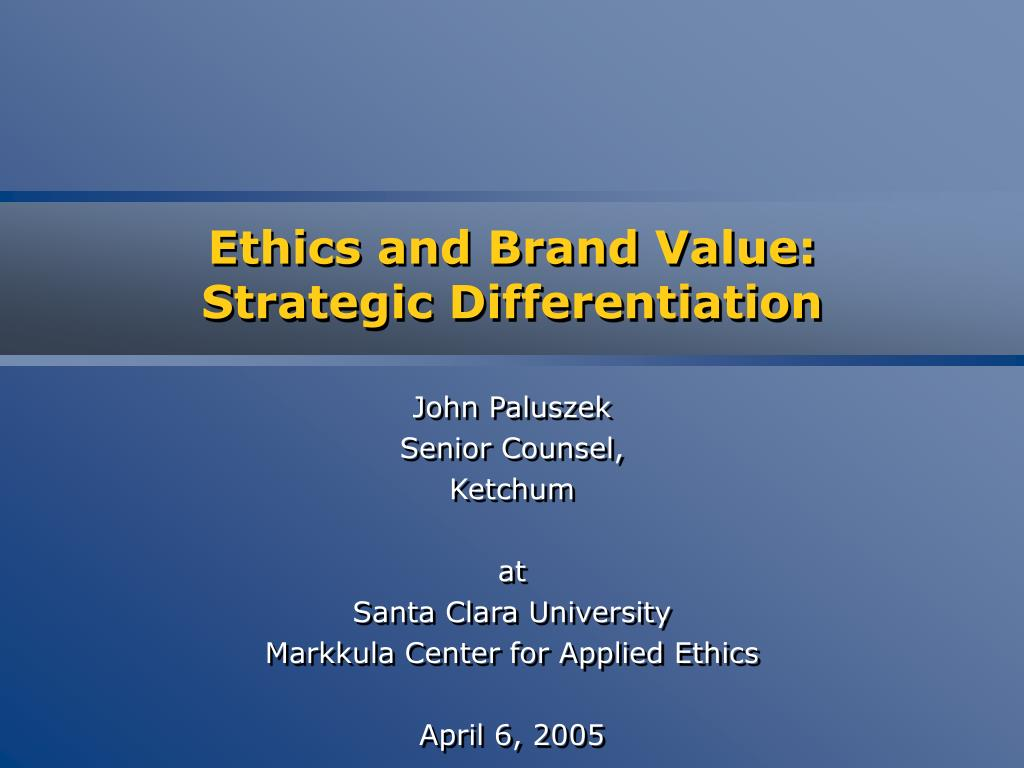 Ethics and Brand Value: