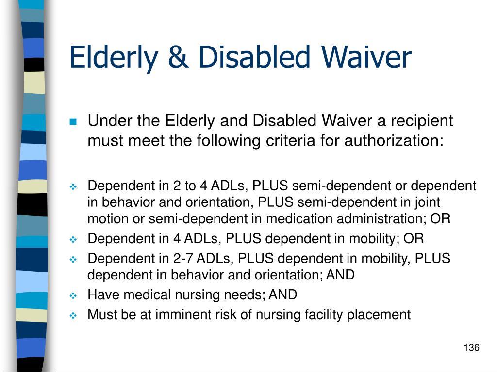 Elderly & Disabled Waiver