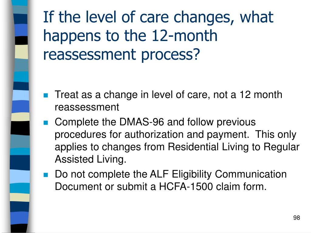 If the level of care changes, what happens to the 12-month reassessment process?