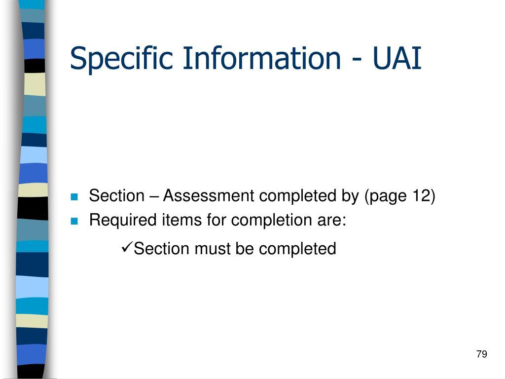 Specific Information - UAI