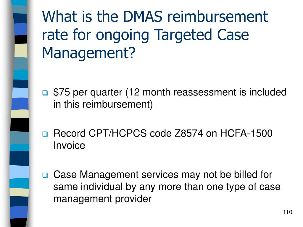 What is the DMAS reimbursement rate for ongoing Targeted Case Management?