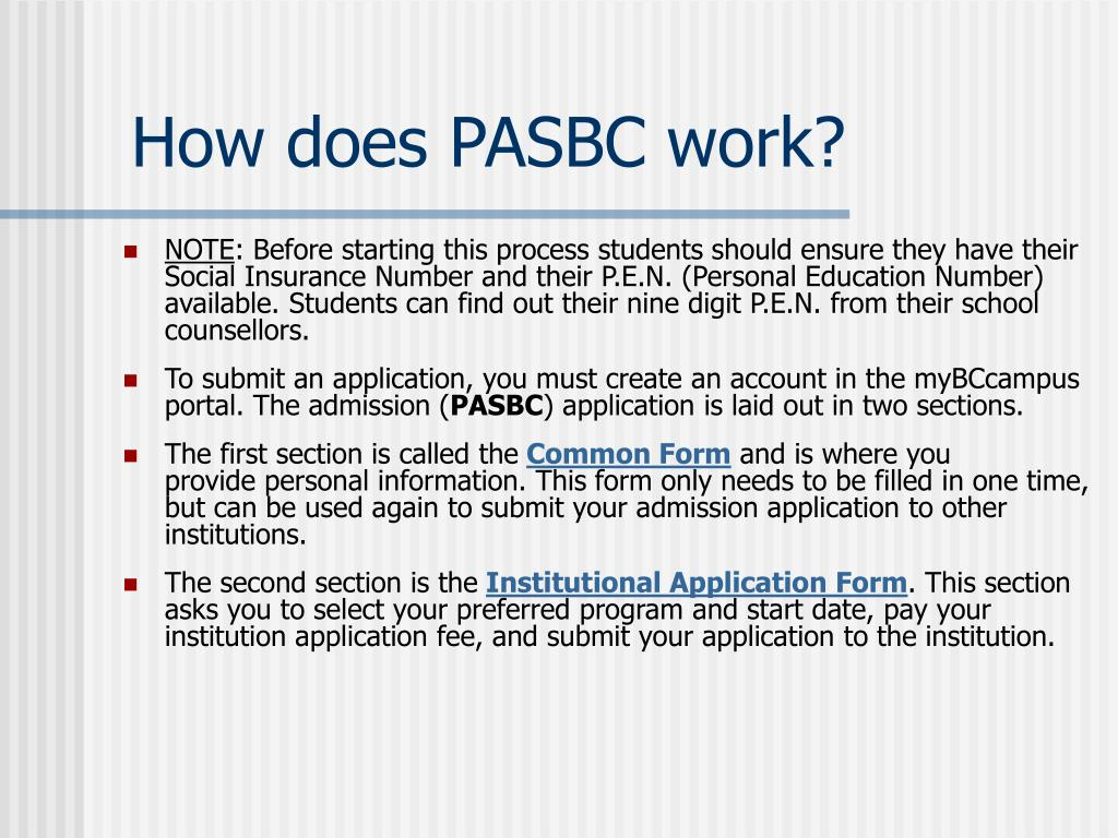 How does PASBC work?