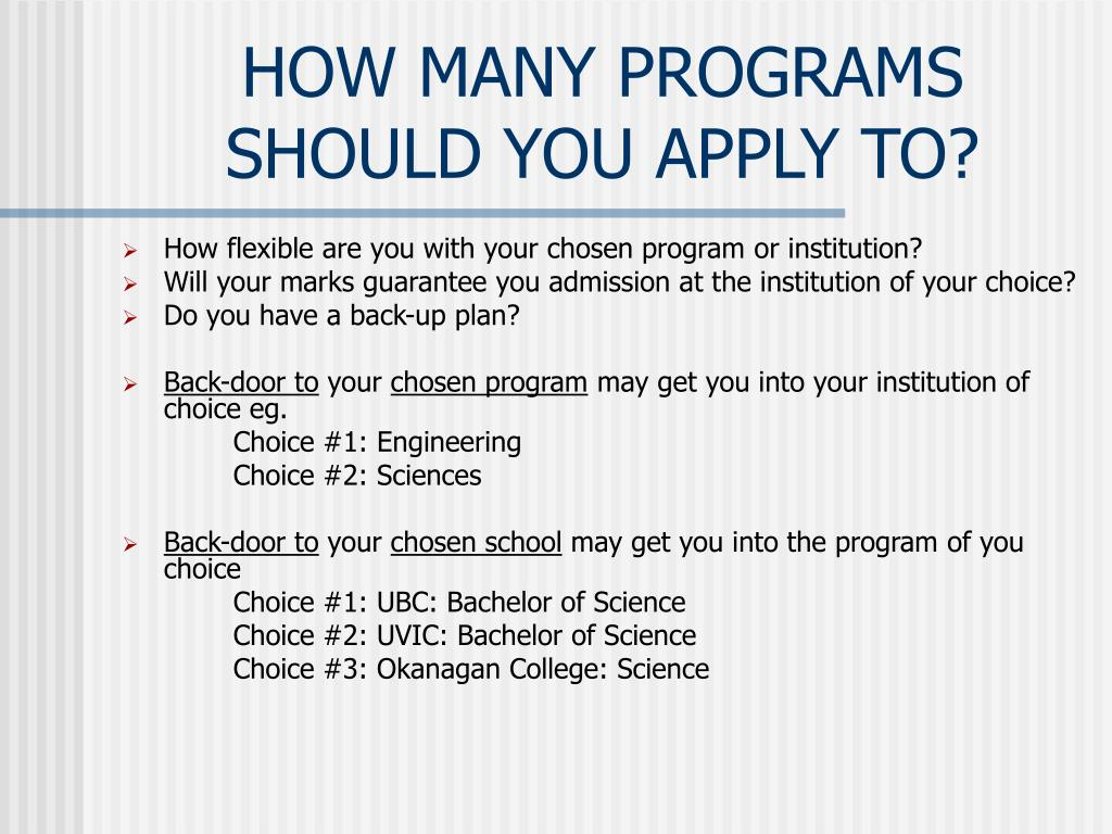 HOW MANY PROGRAMS SHOULD YOU APPLY TO?