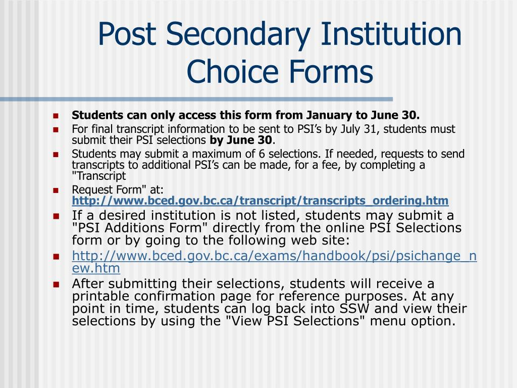 Post Secondary Institution Choice Forms