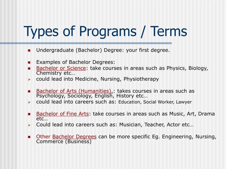 Types of programs terms