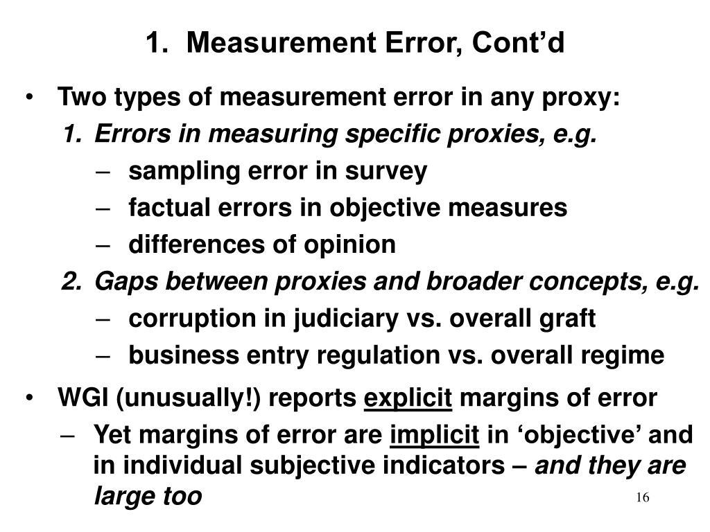 1.  Measurement Error, Cont'd