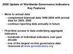2006 update of worldwide governance indicators key features
