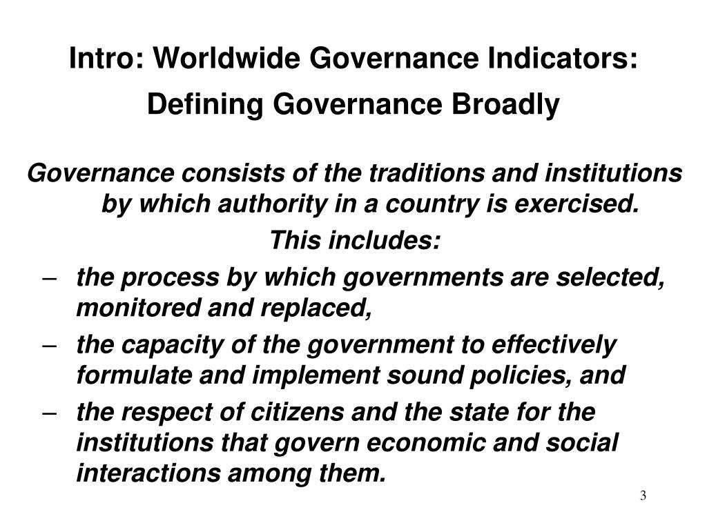 Intro: Worldwide Governance Indicators: