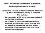 intro worldwide governance indicators defining governance broadly