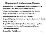 measurement challenges and lessons