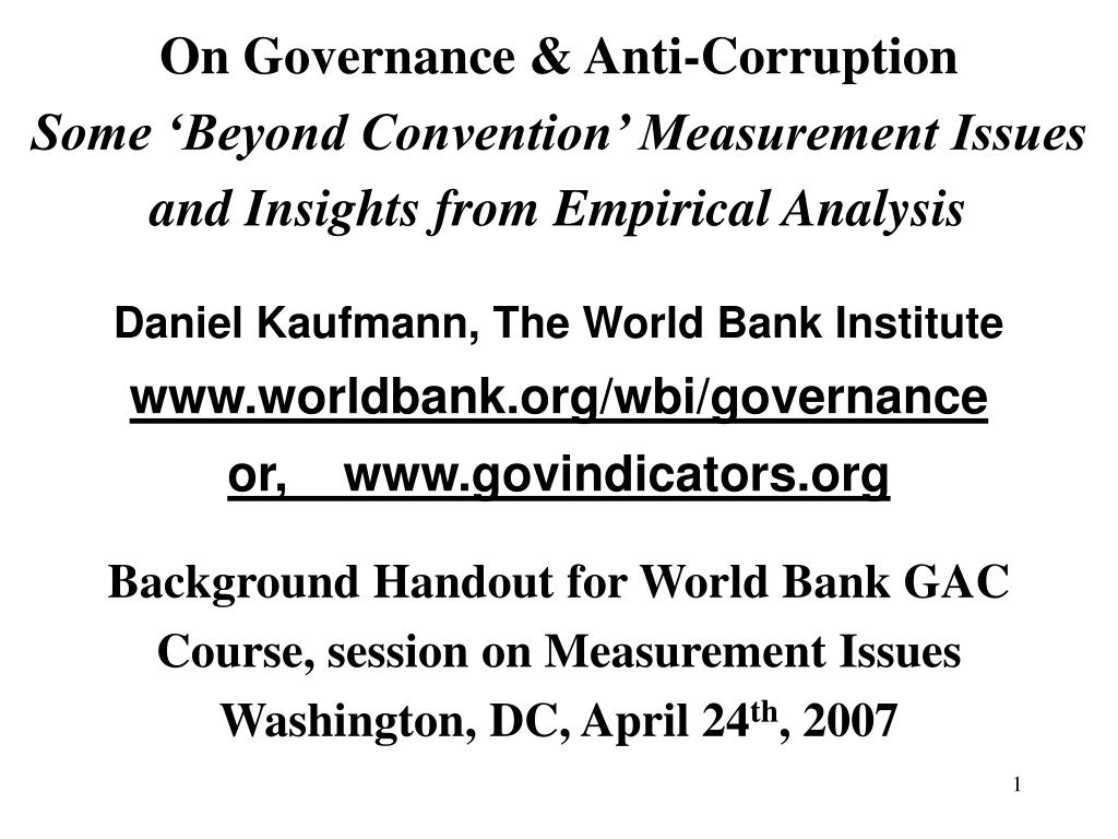 On Governance & Anti-Corruption