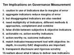 ten implications on governance measurement