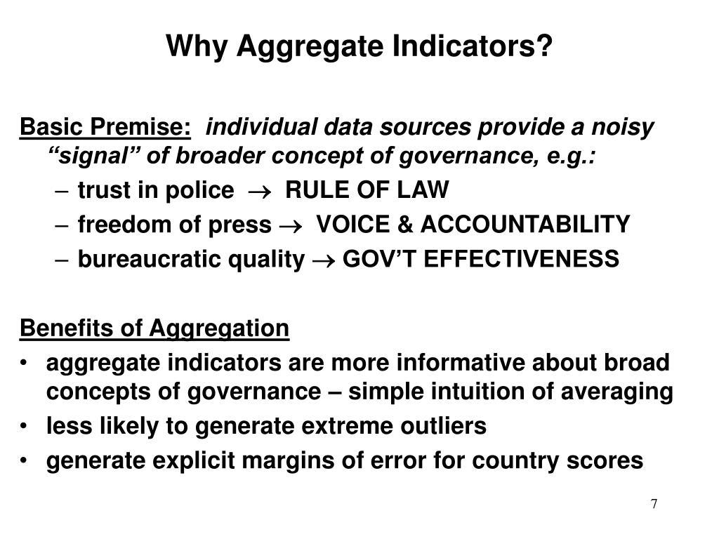 Why Aggregate Indicators?