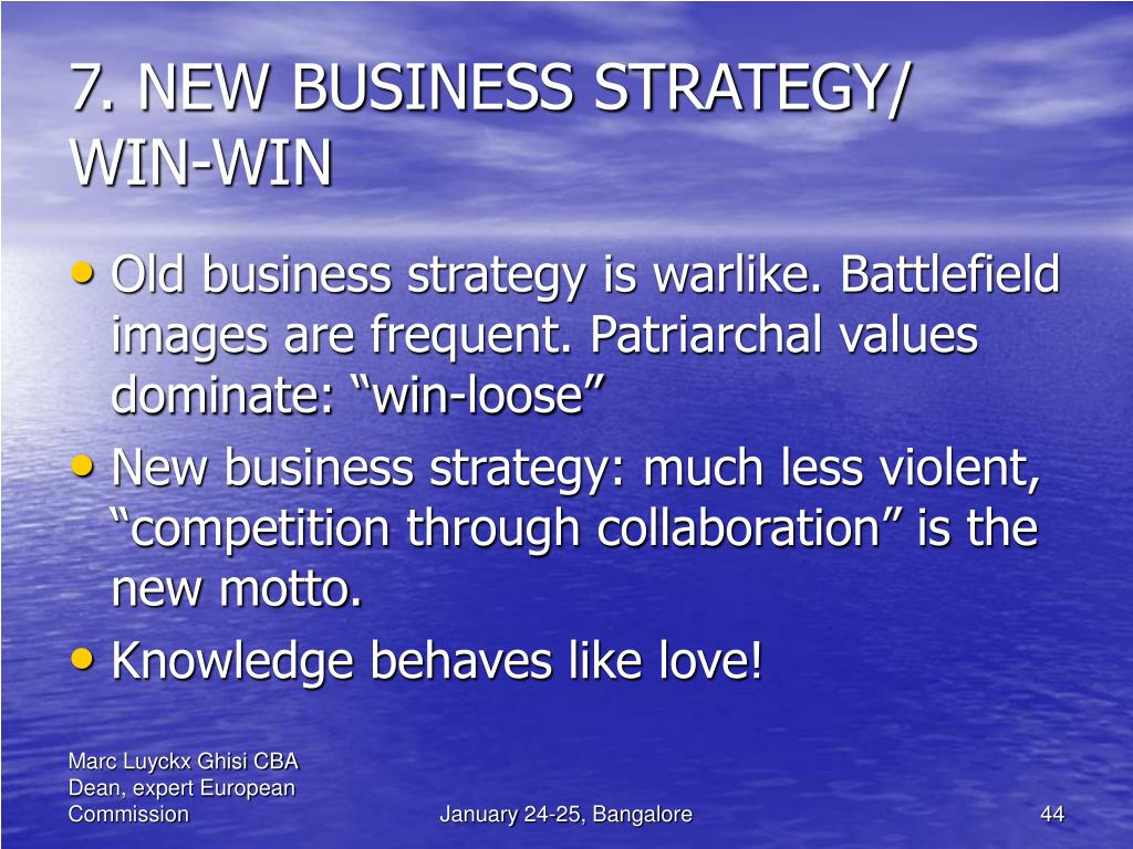 7. NEW BUSINESS STRATEGY/ WIN-WIN