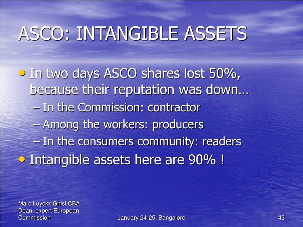 ASCO: INTANGIBLE ASSETS