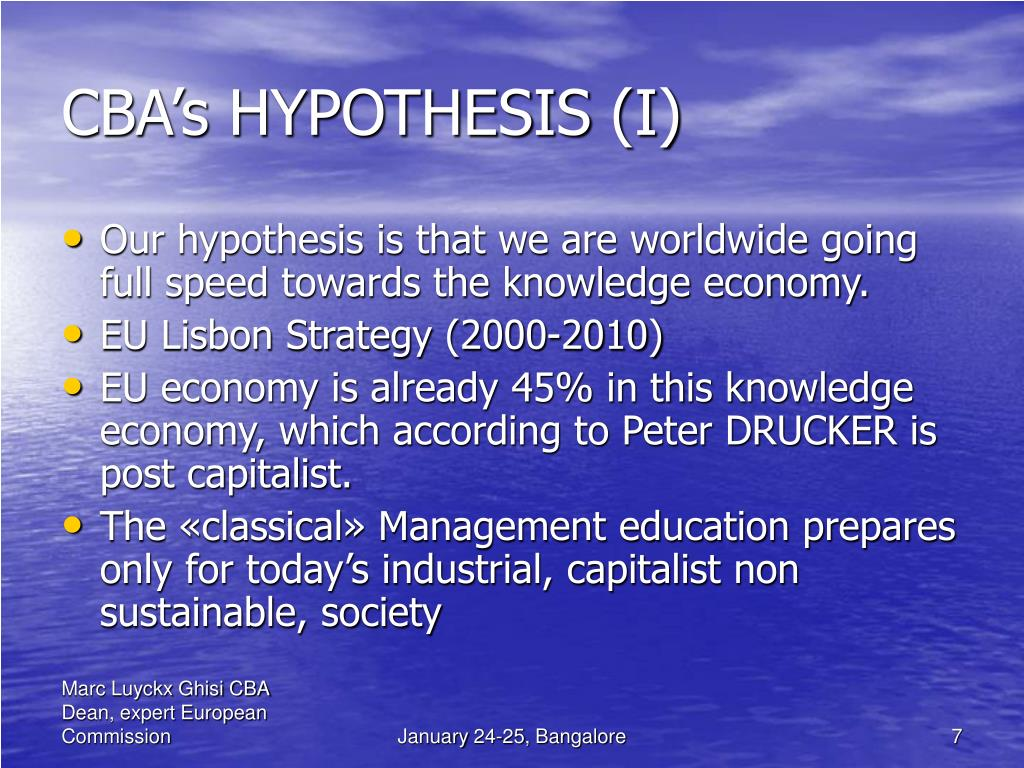 CBA's HYPOTHESIS (I)
