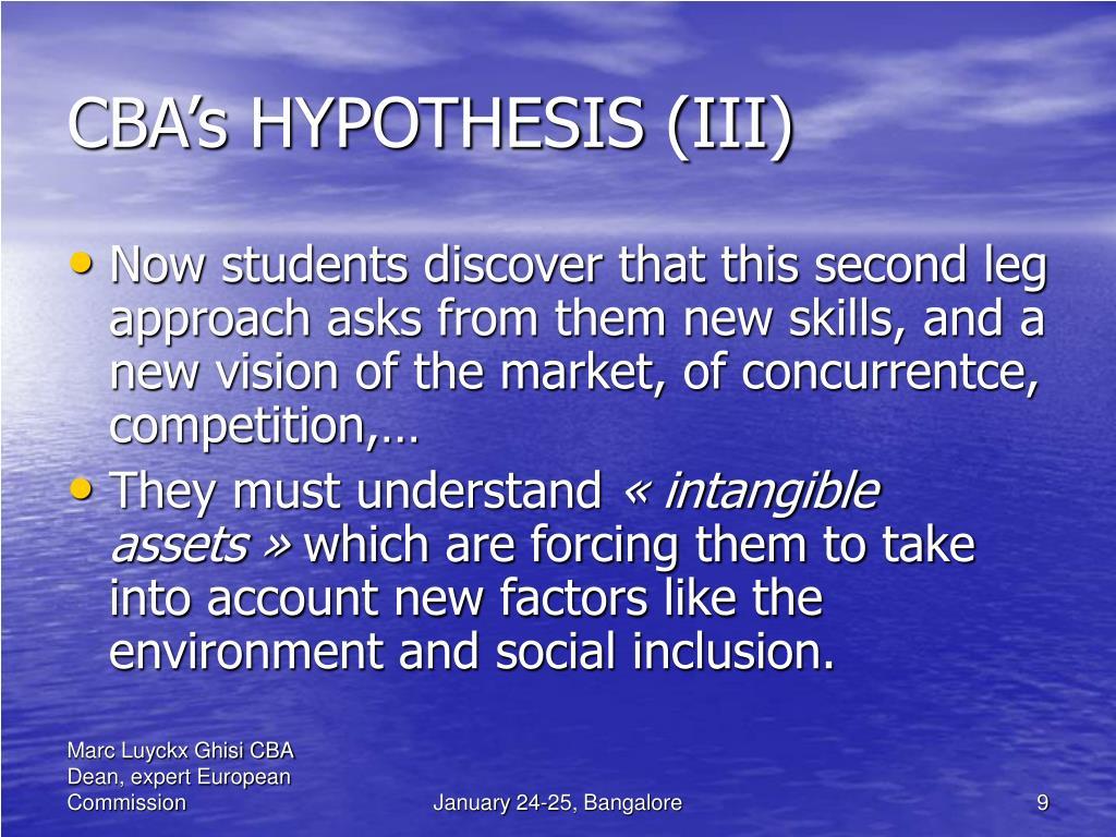 CBA's HYPOTHESIS (III)
