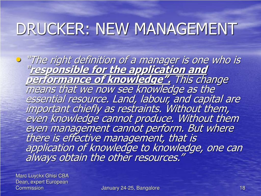 DRUCKER: NEW MANAGEMENT