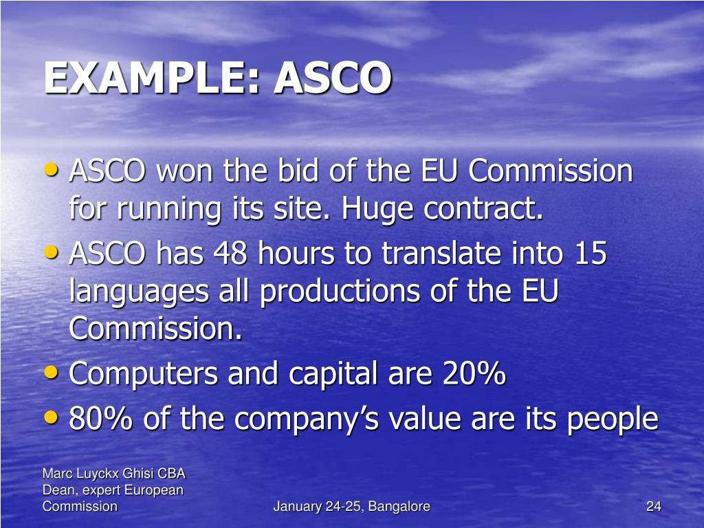 EXAMPLE: ASCO