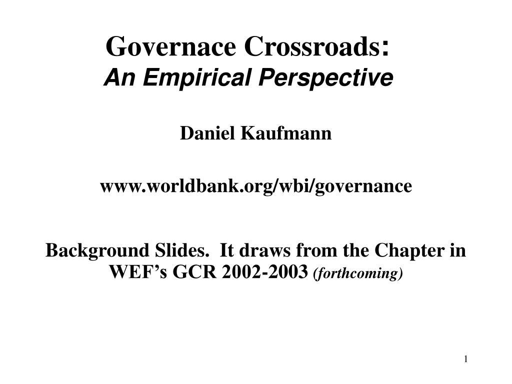 Governace Crossroads