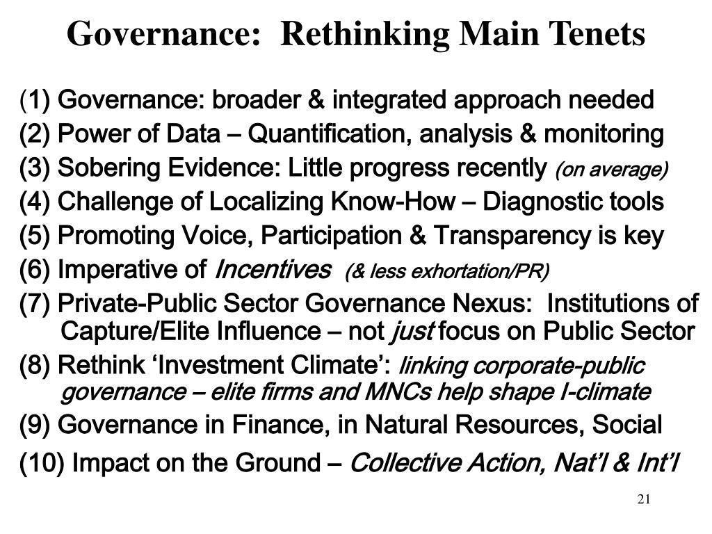Governance:  Rethinking Main Tenets