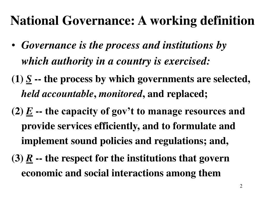 National Governance: A working definition