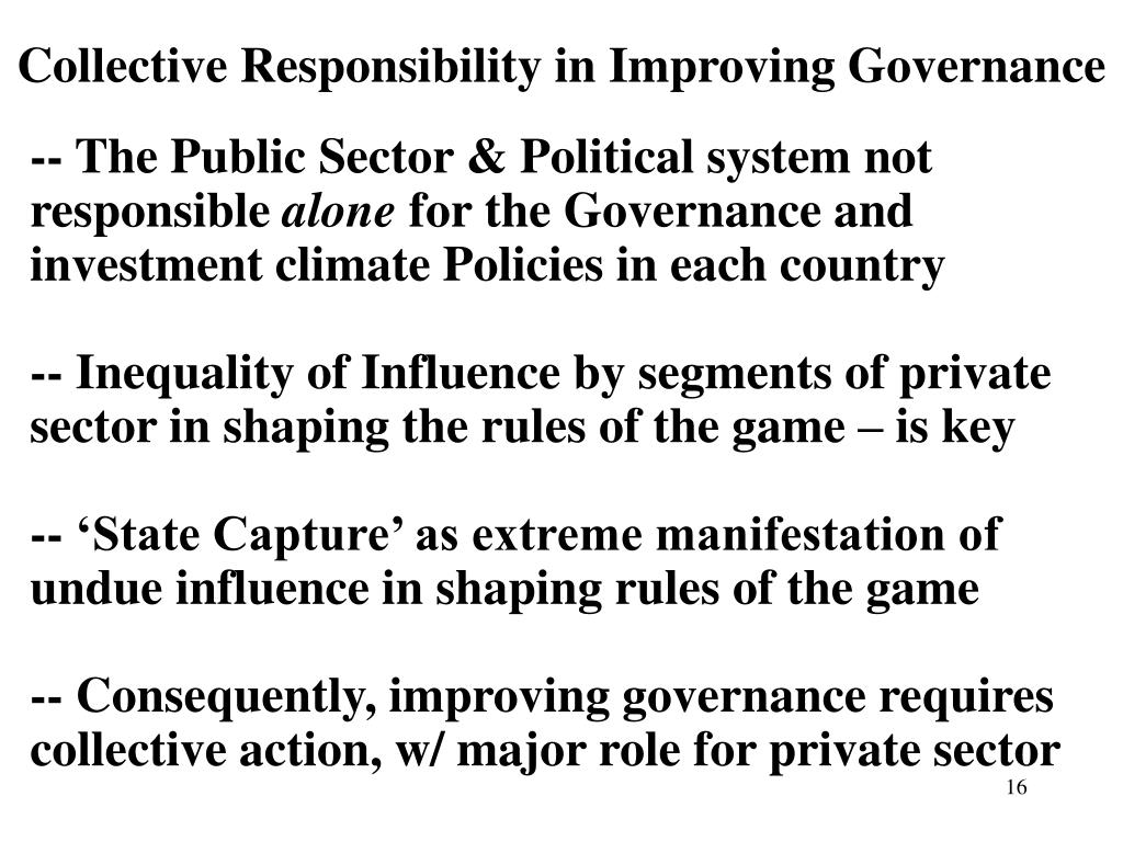 Collective Responsibility in Improving Governance