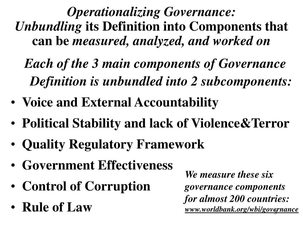 Operationalizing Governance: