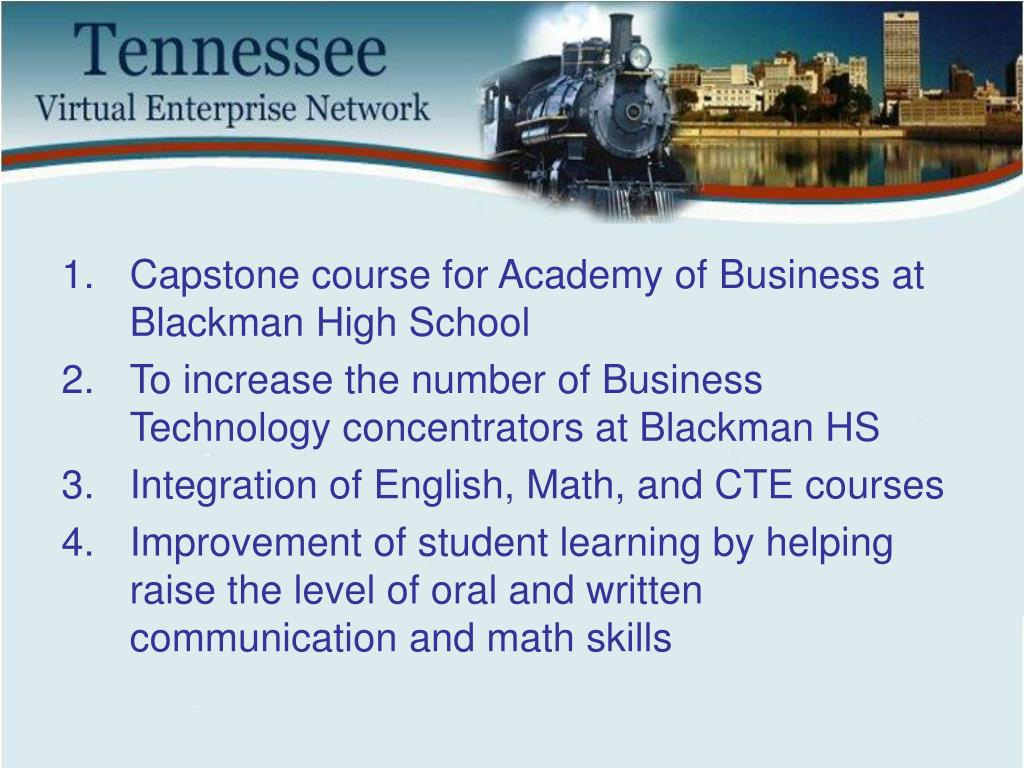 Capstone course for Academy of Business at Blackman High School