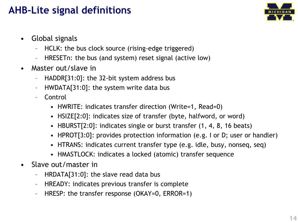 AHB-Lite signal definitions