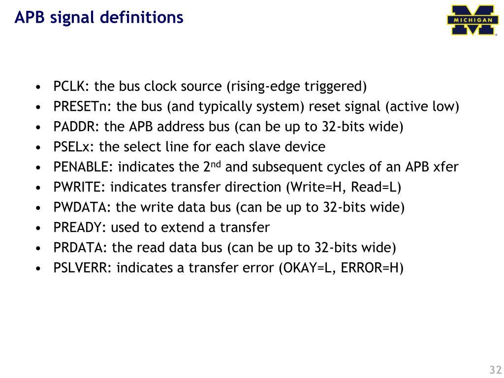 APB signal definitions