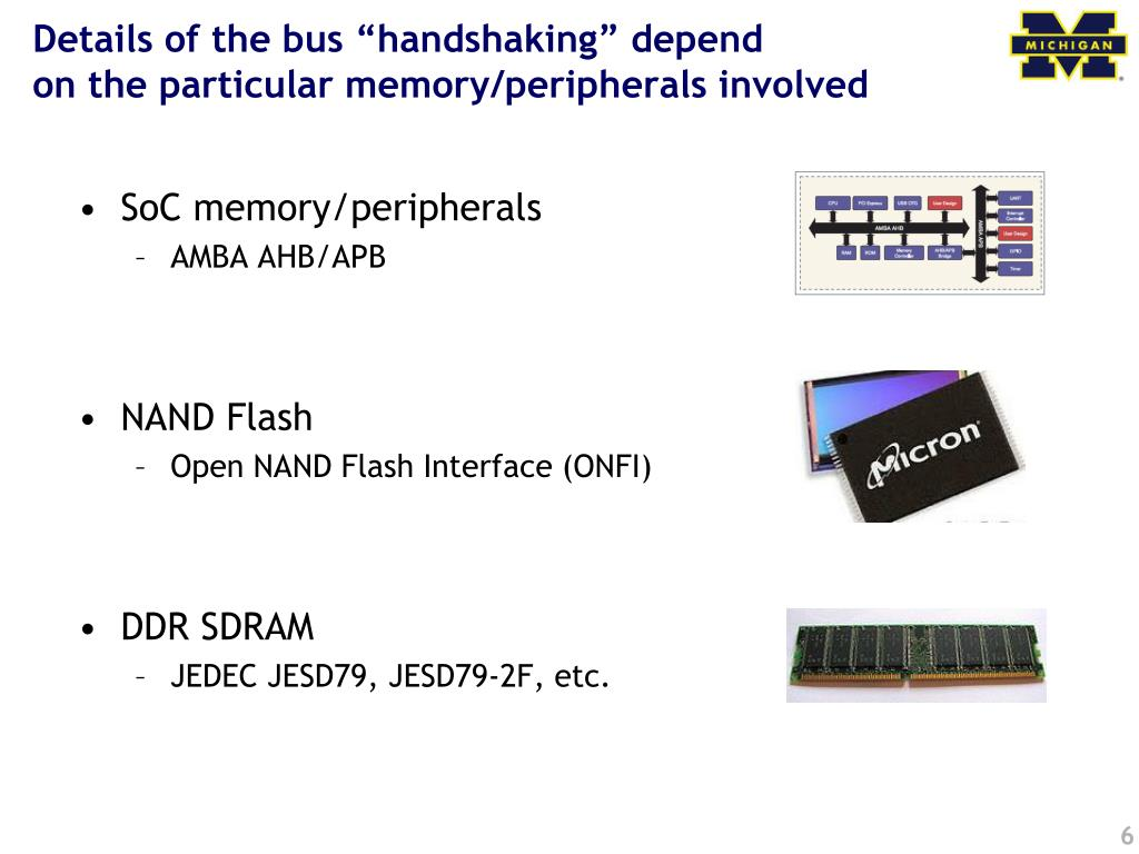 "Details of the bus ""handshaking"" depend"