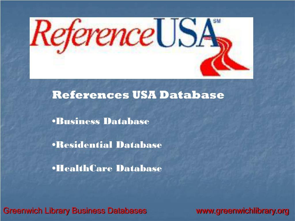 References USA Database