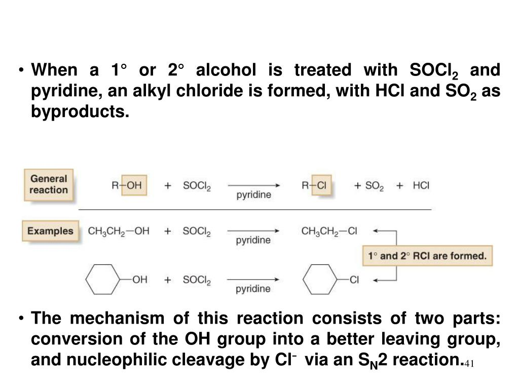 When a 1° or 2° alcohol is treated with SOCl
