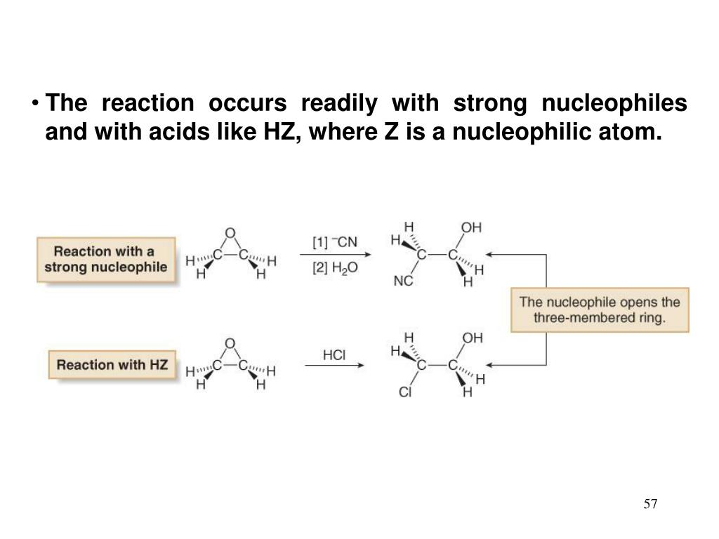 The reaction occurs readily with strong nucleophiles and with acids like HZ, where Z is a nucleophilic atom.