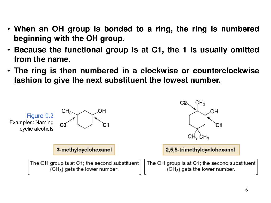 When an OH group is bonded to a ring, the ring is numbered beginning with the OH group.