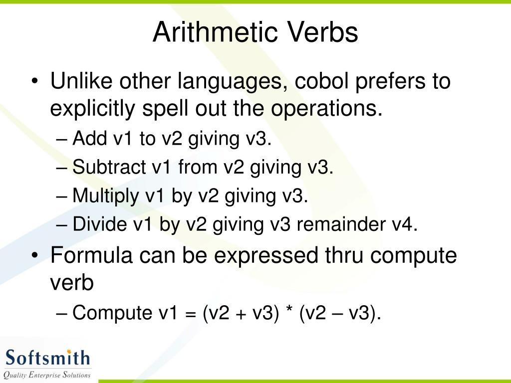 Arithmetic Verbs