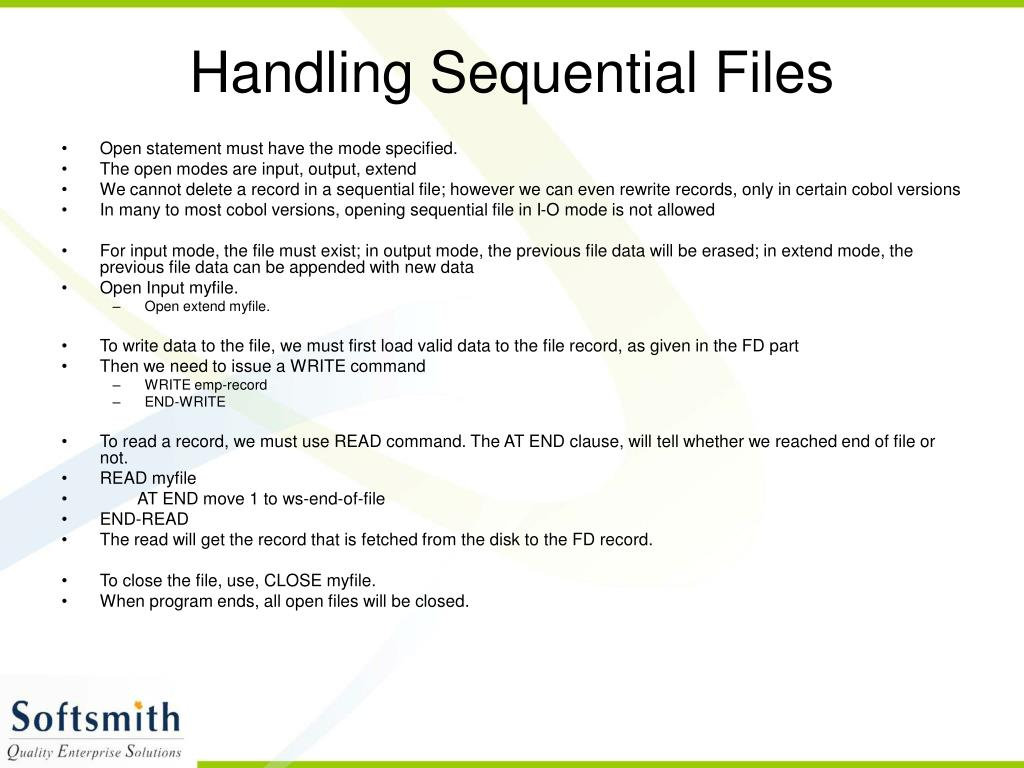 Handling Sequential Files