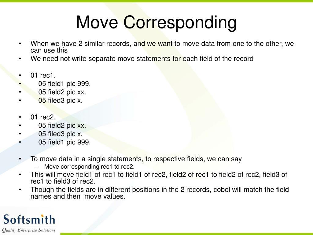 Move Corresponding