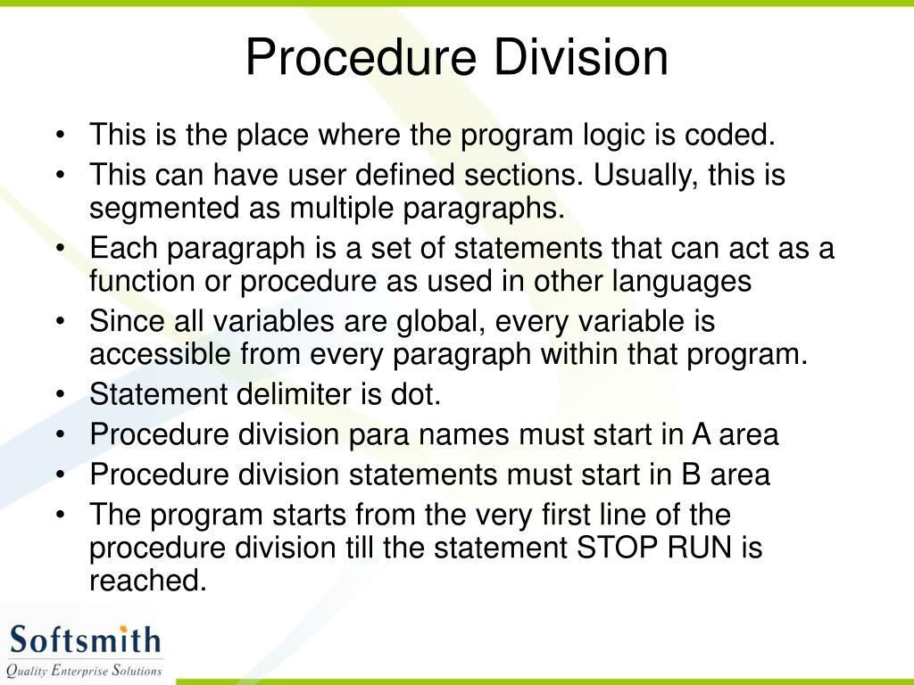 Procedure Division