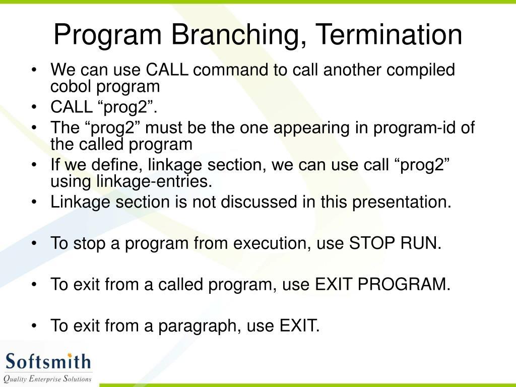 Program Branching, Termination