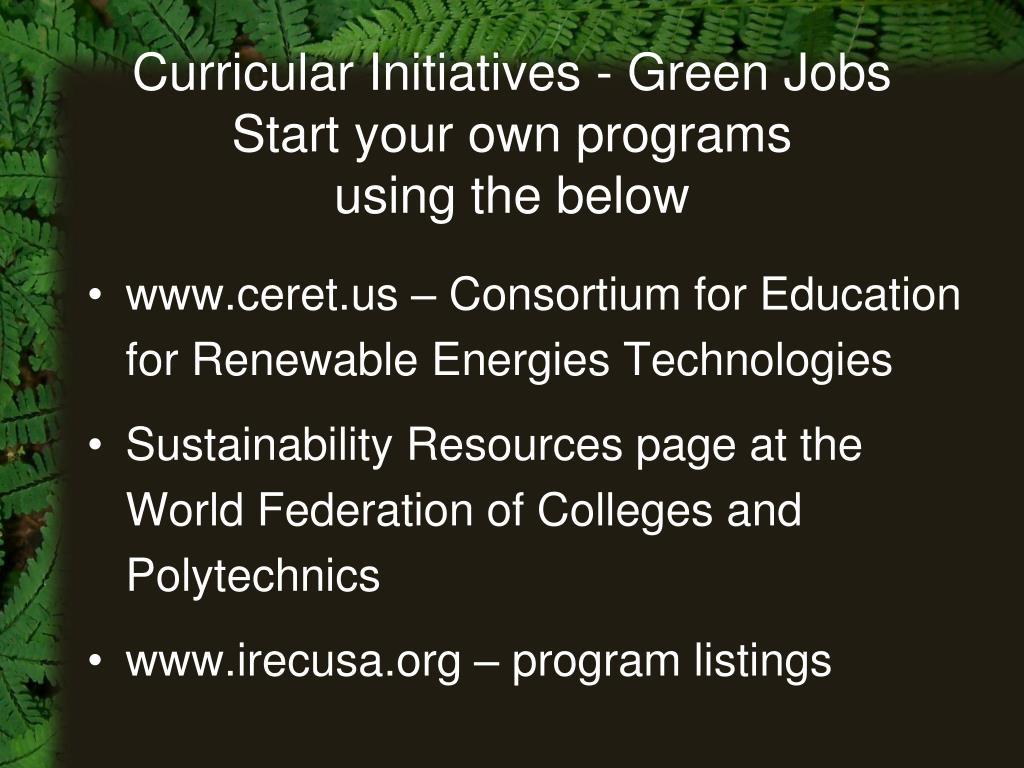 Curricular Initiatives - Green Jobs