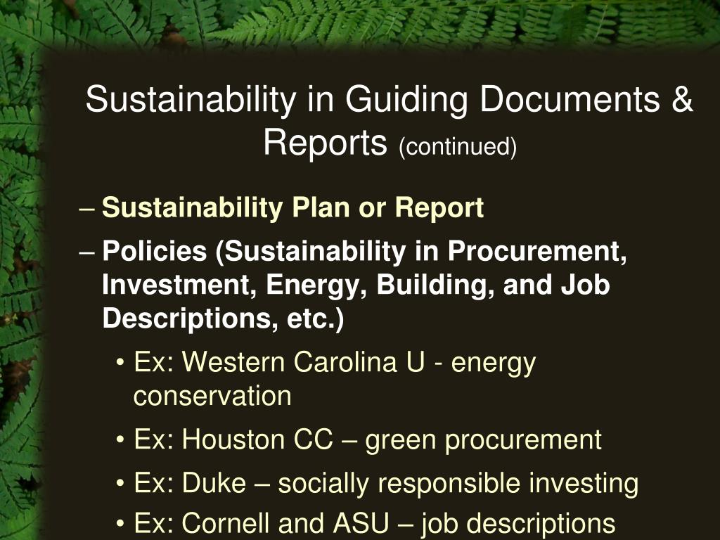 Sustainability in Guiding Documents & Reports