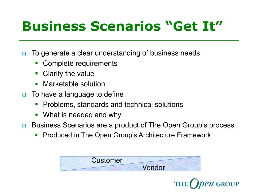 """Business Scenarios """"Get It"""""""