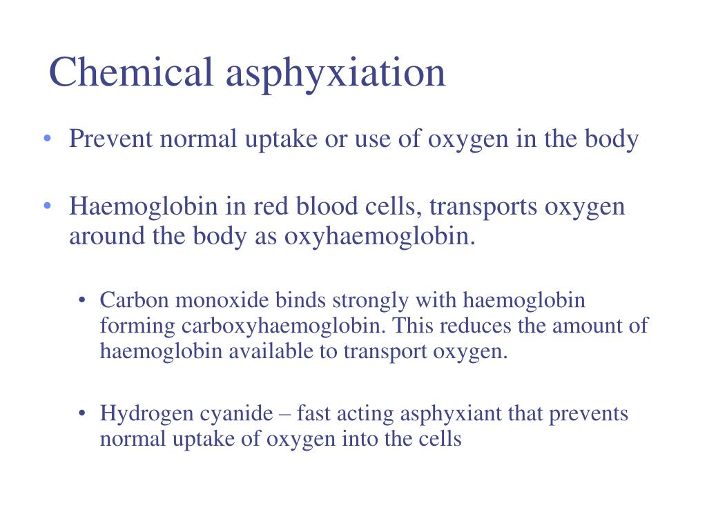 Chemical asphyxiation