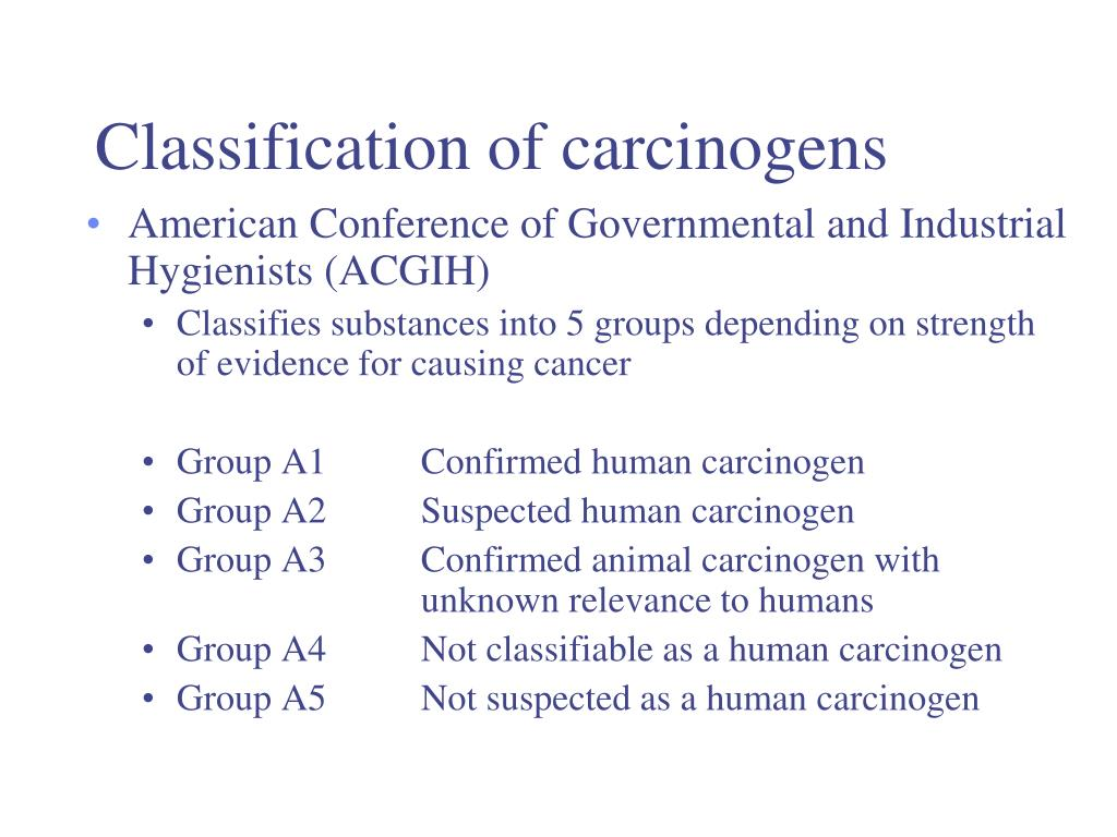 Classification of carcinogens